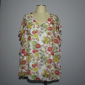 Floral ruffle sleeve blouse 18/20W
